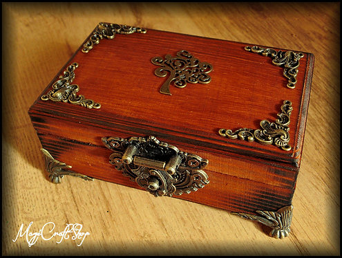 ANCIENT WOODEN BOX with magical symbols - small size 14x5x9 cm