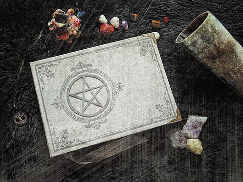 Book of shadows Glitter Pentacle - MEDIUM size - 22x16 cm