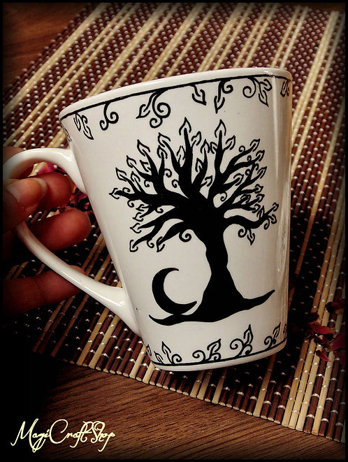 Tea set mug+plate TREE OF LIFE STYLE