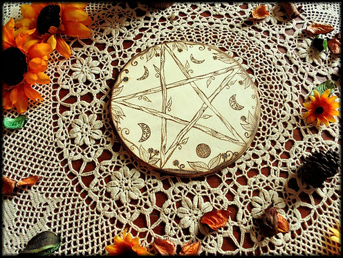 Pentacle with moon phases wicca altar base