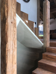 oak staircase with glazing center Morzine