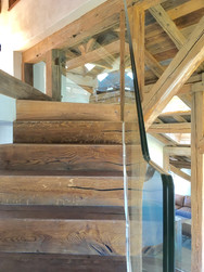 Glasswork on old wood stairs
