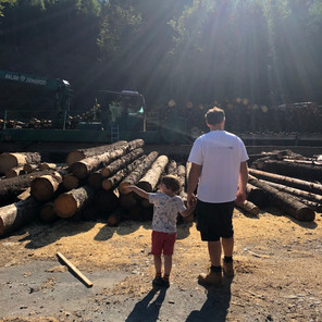 Sam Jones & son at timber yard