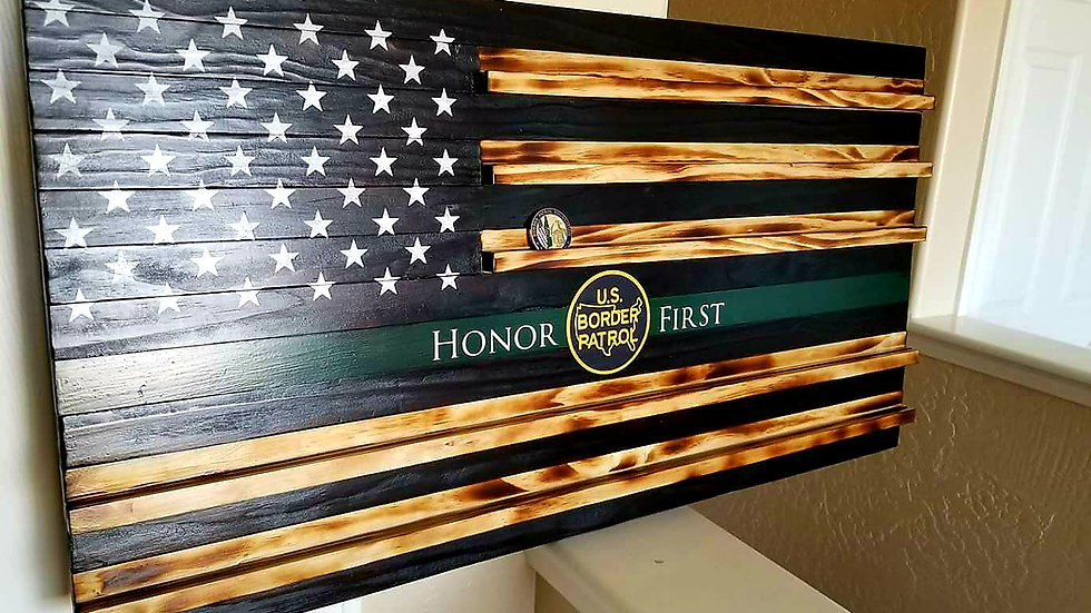 Challenge Coin Wood Flag