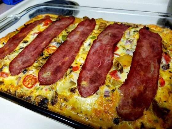 Egg and Turkey Bacon Breakfast Casserole