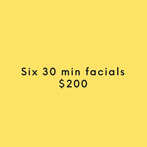 Six 30 Min. Facials