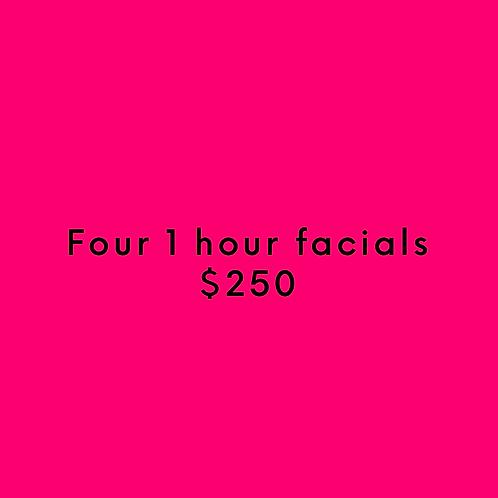 Four 1 Hour Facials