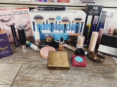 12 piece blue brush set + Makeup