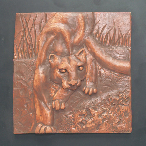 Welcome to the Jungle! Ceramic bas-relief cougar