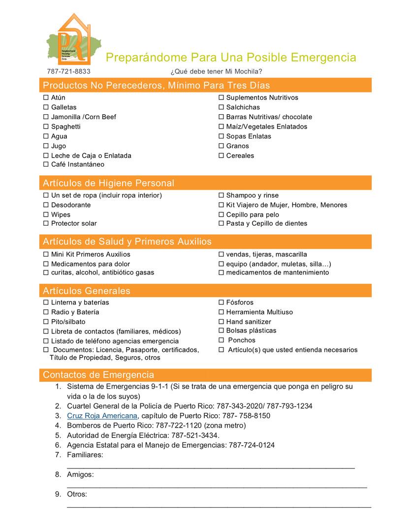 Listado Materiales Disaster Backpack