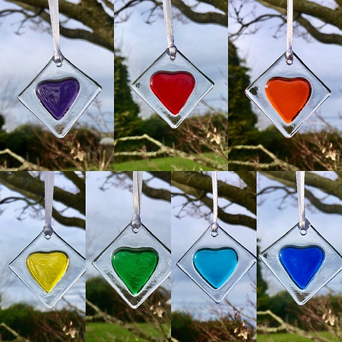Set of Coloured Heart Tags