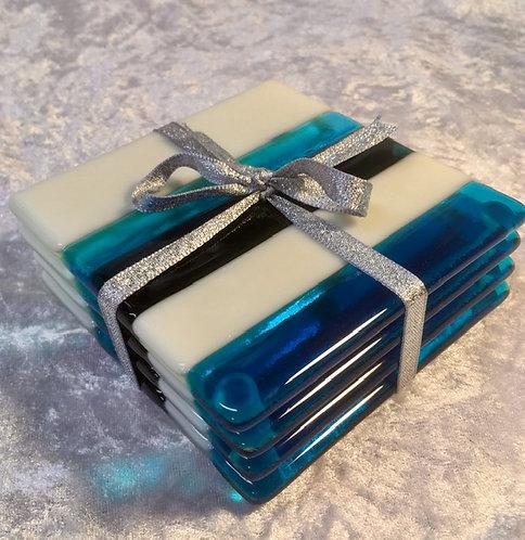 Blue, Ivory, Turquoise Coasters
