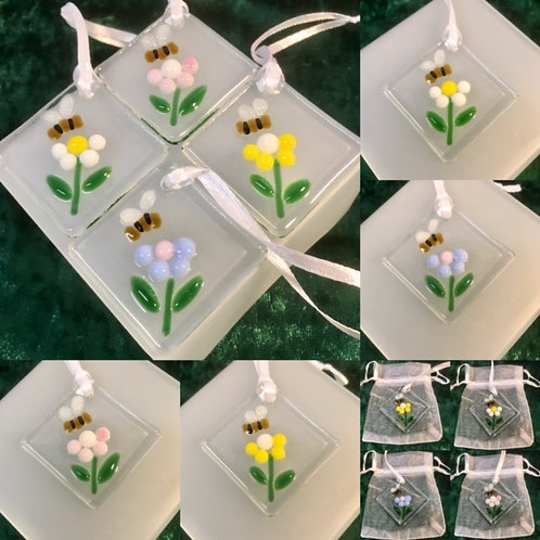 Flowers with Bee Tags in Organza Gift Bag