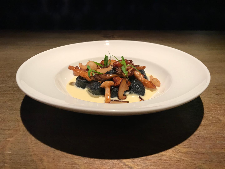 Starter - Black Garlic Gnocchi, Sautéed Wild Mushrooms, Truffle & Nasturtium