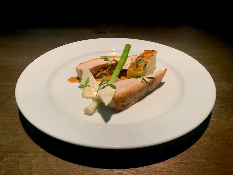 Main Course - Pan Seared Guinea Fowl Breast, Celeriac Textures, Anne Potato, Braised Leek & Arran Mustard Sauce