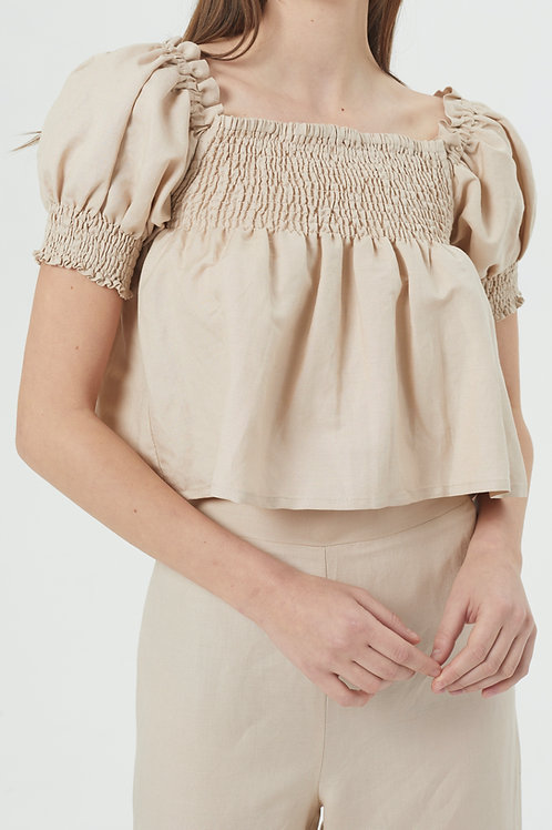 Top en lin beige