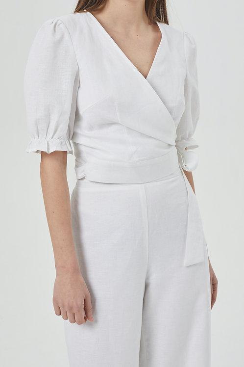 Cache-coeur en lin blanc