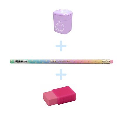 Kit - Lápis rainbow hb + apontador + borracha