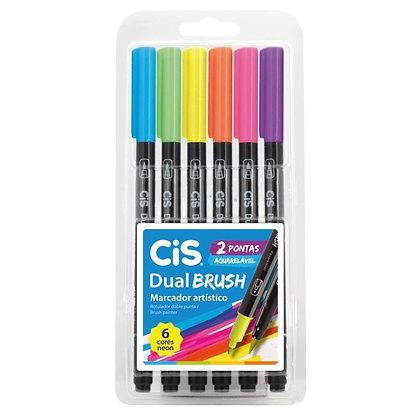 Cis Dual Brush - Neon estojo c/ 6 cores