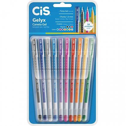 Caneta Gel CIS Gelyx - Estojo com 10 cores