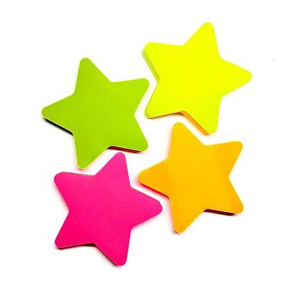 Bloco Adesivo de Notas - Estrela Neon
