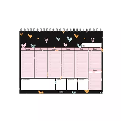Planner de mesa semanal Paixão em cores A4