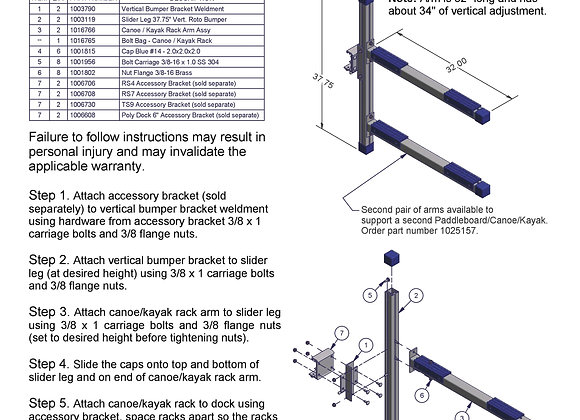 Pair Of Add On Arms For Kayak Rack (Arms Only) $173