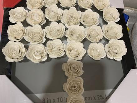 process of making shadow box flowers