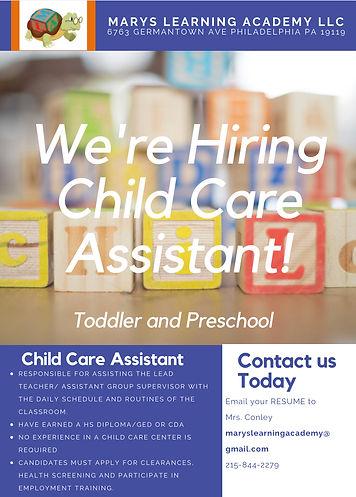 Flyer: hiring Teacher Assistant