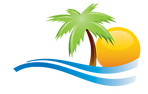 The Gulf Consortium Logo - A palm tree over the ocean with the sun in the background