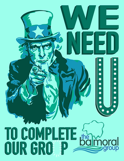 WE NEED YOU TO COMPLETE OUR GROUP hiring poster with Uncle Sam in balmoral colors