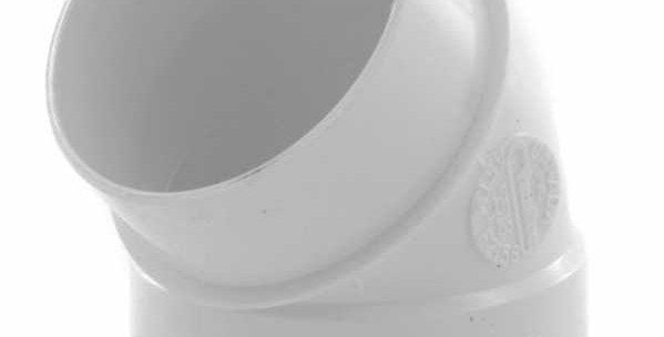 Coude PVC raccordement MF coudé 45°en diamètre 50mm blanc pour centralisation dr