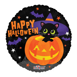 """18"""" Halloween Cat with Hat"""
