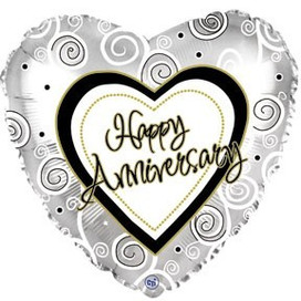 "18"" Silver Happy Anniversary Heart"