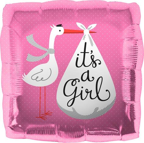 "18"" It's A Girl Stork"