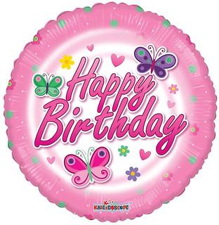 "18"" Birthday Pink Butterflies"