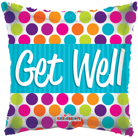 "18"" Get Well Square Dots"