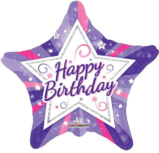 "18"" HBD Pink&Purple Star"