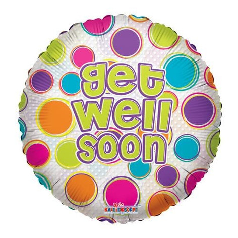 "18"" Get Well Dots Clear"