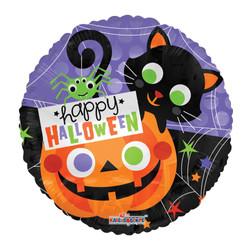 """18"""" Happy Halloween Cat & Pumpkin"""