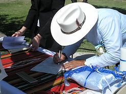 Man signing wedding license