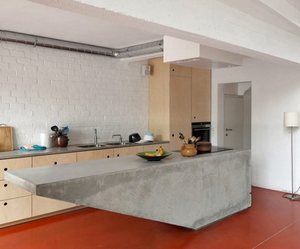 concrete worktop island