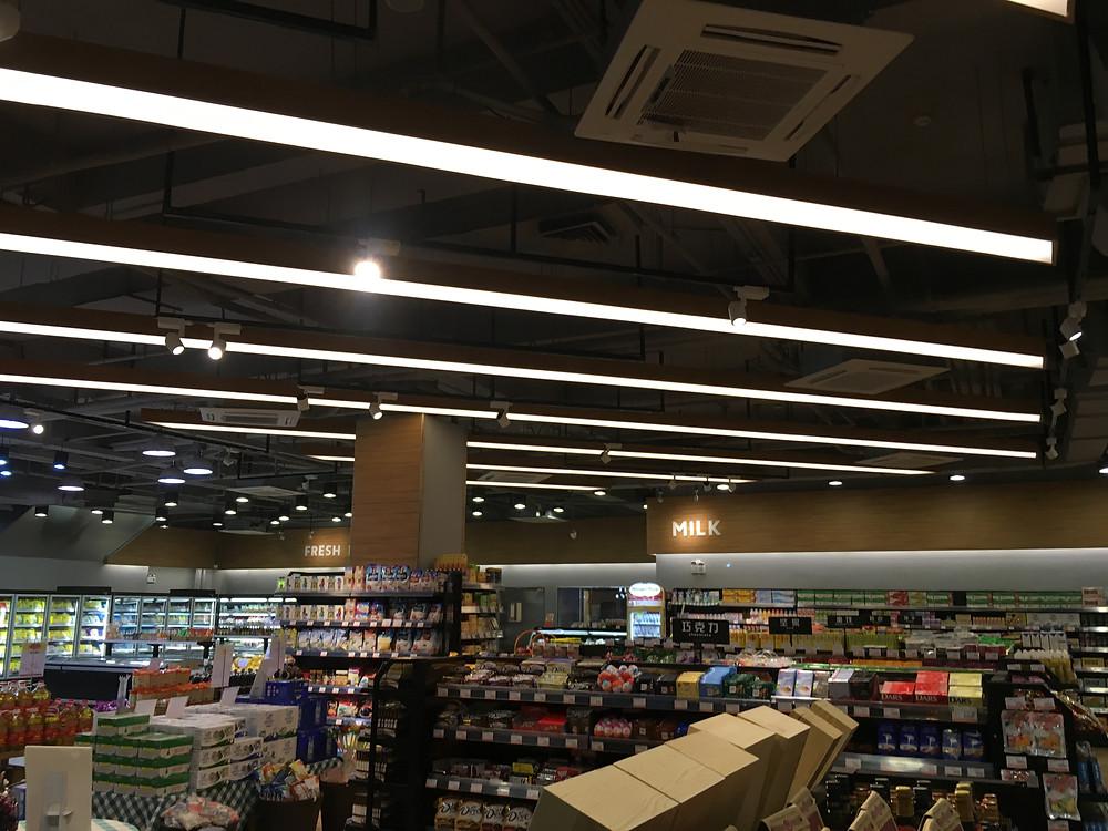 Verluisant Linear Lighting design for Community Plaza Supermarket in Guangzhou