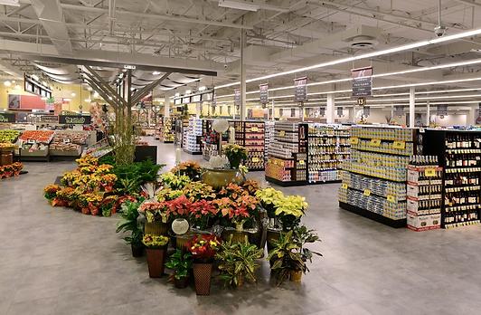 Освещение супермаркета линейными светильниками