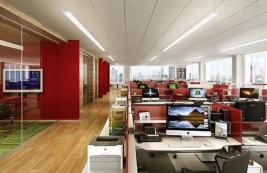 освещение офиса линейными светильниками verluisant