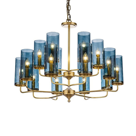 Brass & Blue Glass Tube