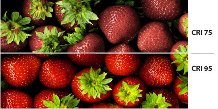 освещение продуктов с высоким и низким индексом цветопередачи CRI