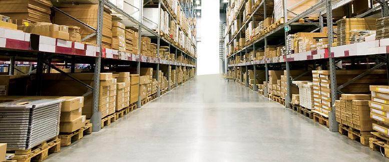 Освещение проходов между стеллажами на складе