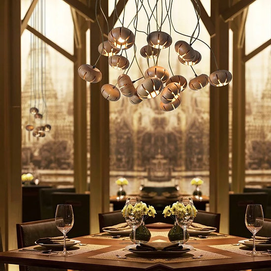 Подвесной деревянный светильник для ресторанов