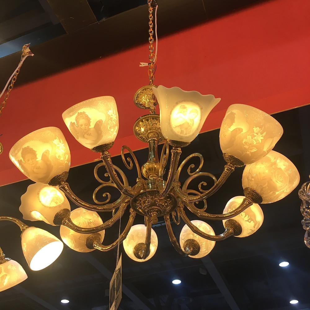 Люстра с костяным фарфором и лазерной гравировкой bohemia ivele crystal
